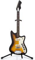 Musical Instruments:Electric Guitars, 1960's Silvertone Bobcat Sunburst Solid Body Electric Guitar ...