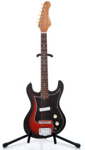 Musical Instruments:Electric Guitars, 1960's Silvertone 319.14059 Red Burst Solid Body Electric Guitar...