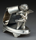 Silver Holloware, American:Napkin Rings, A DERBY SILVER-PLATED FIGURAL NAPKIN RING . Derby Silver Co., Derby(Birmingham), Connecticut, circa 1875. Marks: DERBY SI...