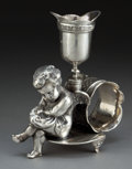 Silver Holloware, American:Napkin Rings, A PAIRPOINT SILVER-PLATED FIGURAL NAPKIN RING AND BUD VASE .Pairpoint Mfg. Co., New Bedford, Massachusetts, circa 1875. Mar...