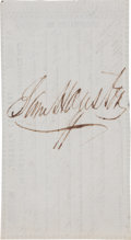 "Autographs:Statesmen, Sam Houston Treasury Warrant as President of the Republic of TexasEndorsed ""Sam Houston.""..."