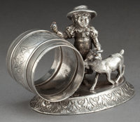 A MERIDEN SILVER-PLATED FIGURAL NAPKIN RING Meriden Silver Plate Co., Meriden, Connecticut, circa 1875 Marks: