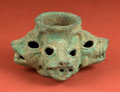 American Indian Art:Pottery, Fine Moche Copper Mace with Jaguar and Reptile Heads...