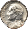 Errors, Undated Lincoln Memorial Cent -- Struck 75% Off Center on a Struck Clad Dime -- MS64 NGC....