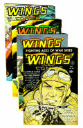 Golden Age (1938-1955):War, Wings Comics Group (Fiction House, 1942-47).... (Total: 4 ComicBooks)