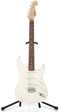 Musical Instruments:Electric Guitars, 1996 Squire Stratocaster Refinished White Solid Body ElectricGuitar #NC679954...
