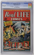 """Golden Age (1938-1955):Non-Fiction, Real Life Comics #18 Davis Crippen (""""D"""" Copy) pedigree (NedorPublications, 1944) CGC VF+ 8.5 Off-white to white pages...."""
