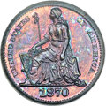 Patterns, 1870 H10C Half Dime, Judd-818, Pollock-907, R.7, PR66 Red and BrownPCGS. CAC....