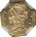 California Fractional Gold: , 1870 50C Liberty Octagonal 50 Cents, BG-908, R.5, MS65 NGC. NGCCensus: (2/4). PCGS Population (10/6). (#10766)...