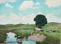 Mainstream Illustration, JOHN NEWTON HOWITT (American, 1885-1958). Cows in thePasture. Watercolor on paper. 21 x 29 in.. Signed lower left....