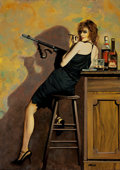 Pulp, Pulp-like, Digests, and Paperback Art, RON LESSER (American, 20th Century). Deadly Dames #3,unpublished painting. Oil on masonite. 24 x 17 in.. Signedlower r...