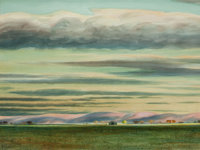 PETER HURD (American, 1904-1984) Taos Sunset Watercolor on paper 17 x 23 inches (43.2 x 58.4 cm)<