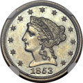 Patterns, 1853 E1C One Cent, Judd-150 Thin, Pollock-178, Low R.7, PR64+NGC....