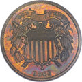 Patterns, 1863 2C Two Cents, Judd-312, Pollock-377, R.4, PR64 Red and Brown PCGS....