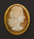 Estate Jewelry:Cameos, Large Gold Framed Cameo. ...