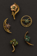 Estate Jewelry:Brooches - Pins, Five Gold & Enamel Pins. ... (Total: 5 Items)