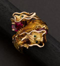 Estate Jewelry:Rings, Massive Gold Dragon Ring With Rubies. ...