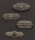 Estate Jewelry:Brooches - Pins, Four Filigree Pins. ... (Total: 4 Items)