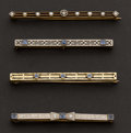 Estate Jewelry:Brooches - Pins, Four Gold Bar Pins. ... (Total: 4 Items)