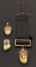 Timepieces:Other , Three Gold Cap Elks Tooth Fobs. ... (Total: 3 Items)