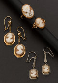 Estate Jewelry:Earrings, Cameo Rings & Earring Assortment. ... (Total: 4 Items)