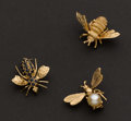 Estate Jewelry:Brooches - Pins, Three Gold Bee Pins. ... (Total: 3 Items)