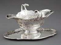 A FRENCH SILVER SAUCEBOAT WITH ATTACHED UNDERPLATE Unidentified maker, probably Paris, France, circa 1760 Mark
