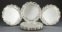 A SET OF TWELVE AMERICAN SILVER CHARGERS Maker unknown, American, circa 1950 Marks: STERLING 12-
