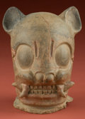 American Indian Art:Pottery, Large Maya Jaguar Head Fragment...