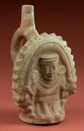 American Indian Art:Pottery, Moche Bottle of Man Being Consumed...