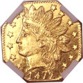 California Fractional Gold, 1872/1 25C Indian Octagonal 25 Cents, BG-790, R.3, MS67 ProoflikeNGC....