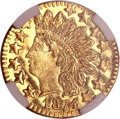 California Fractional Gold, 1874 25C Indian Round 25 Cents, BG-875, High R.4, MS66 Deep MirrorProoflike NGC....