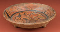 American Indian Art:Pottery, Maya Polychrome Plate with Large Bird...