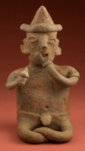 American Indian Art:Pottery, Seated Nayarit Man with Rattle...