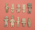 "American Indian Art:Pottery, Lot of Ten Pre-Classic Various Figures Including ""Pretty Ladies""...(Total: 10 Items)"
