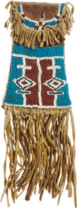 American Indian Art:Beadwork and Quillwork, A KIOWA BEADED HIDE STRIKE-A-LIGHT BAG. c. 1880... (Total: 6 Items)