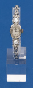 Timepieces:Wristwatch, Hamilton 14k Watch With Two .50 Ct. Diamonds. ...