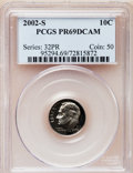 Proof Roosevelt Dimes, 2002-S 10C Clad PR69 Deep Cameo PCGS. PCGS Population (2235/153).NGC Census: (1089/380). Numismedia Wsl. Price for proble...