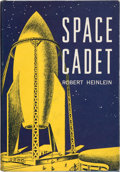 "Books:Science Fiction & Fantasy, Robert A. Heinlein. Space Cadet. New York: CharlesScribner's Sons, 1952. Later impression, lacking ""A"". Signed by..."