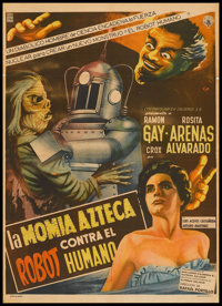 "Robot vs. The Aztec Mummy (Cinematográfica Calderón S.A., 1958). Mexican Poster (26.5"" X 37""). H..."