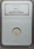 Seated Half Dimes: , 1847 H10C MS62 NGC. NGC Census: (19/98). PCGS Population (25/89).Mintage: 1,274,000. Numismedia Wsl. Price for problem fre...