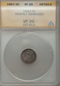 Seated Half Dimes: , 1863 H10C --Damaged--ANACS. VF20 Details. NGC Census: (1/105). PCGSPopulation (0/146). Mintage: 18,000. Numismedia Wsl. Pri...