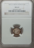 Seated Half Dimes, 1872-S H10C Mintmark Above Bow MS63 NGC. PCGS Population (26/81).Numismedia Wsl. Price for problem fre...