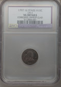 Early Half Dimes, 1797 H10C 16 Stars--Corroded, Improperly Cleaned--NCS. VG Details.LM-3. NGC Census: (2/151). PCGS Population (6/169). Min...