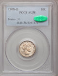 Barber Dimes: , 1908-O 10C AU58 PCGS. CAC. PCGS Population (2/91). NGC Census:(3/72). Mintage: 1,789,000. Numismedia Wsl. Price for proble...