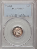 Barber Dimes: , 1909-O 10C MS62 PCGS. PCGS Population (16/71). NGC Census: (8/62).Mintage: 2,287,000. Numismedia Wsl. Price for problem fr...
