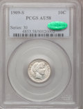 Barber Dimes: , 1909-S 10C AU58 PCGS. CAC. PCGS Population (7/52). NGC Census:(2/55). Mintage: 1,000,000. Numismedia Wsl. Price for proble...
