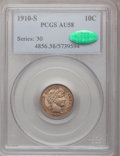 Barber Dimes: , 1910-S 10C AU58 PCGS. CAC. PCGS Population (5/67). NGC Census:(5/32). Mintage: 1,240,000. Numismedia Wsl. Price for proble...