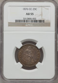 Seated Quarters: , 1876-CC 25C AU55 NGC. NGC Census: (12/176). PCGS Population(23/163). Mintage: 4,944,000. Numismedia Wsl. Price for problem...