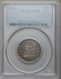 Bust Quarters: , 1834 25C VF25 PCGS. PCGS Population (22/486). NGC Census: (15/372). Mintage: 286,000. Numismedia Wsl. Price for problem fre...